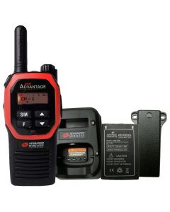 Portable - Advantage AWR-4000 UHF 450-470 MHz, 2-Watt, 16-Channel, With Battery, Belt Clip, and Charger-Red