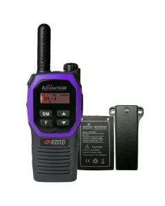 Portable - Advantage AWR-4002 UHF 450-470 MHz, 2-Watt, 16 Channel, Bluetooth, Vibrate, DTMF With Battery, and Belt Clip-Purple