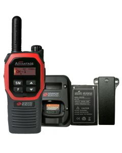 Portable - Advantage Plus AWR-4002 UHF 450-470 MHz, 2-Watt, 16-Channel, With Battery, Belt Clip, and Charger-Red