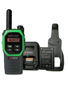 Portable - Advantage Plus AWR-4002 UHF 450-470 MHz, 2-Watt, 16 Channel, Bluetooth, Vibrate, DTMF With Battery, Charger and Holster-Green