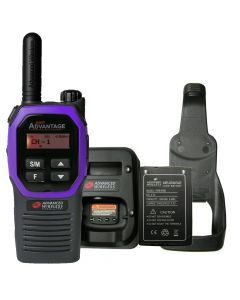 Portable - Advantage Plus AWR-4002 UHF 450-470 MHz, 2-Watt, 16 Channel, Bluetooth, Vibrate, DTMF With Battery, Charger and Holster-Purple
